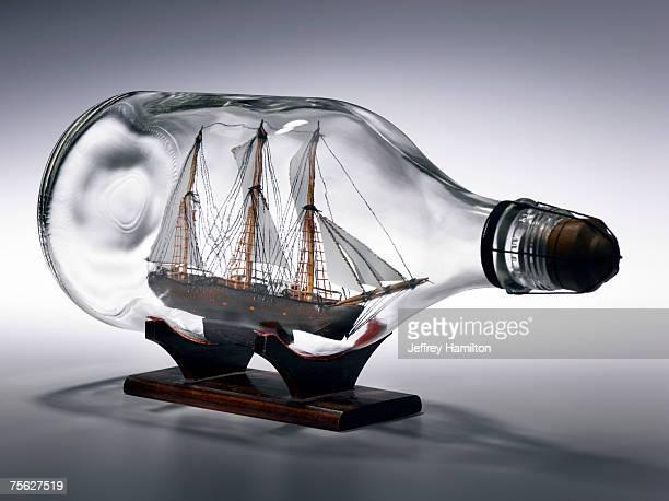 Sailing ship in bottle
