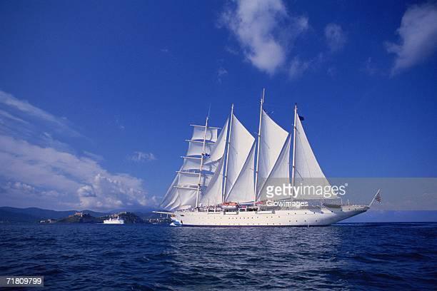 Sailing ship in the sea, Portoferraio, Elba, Italy