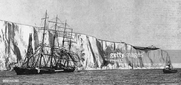 Sailing ship 'PreuBen' running onto the white cliffs of Dover November 6 1910