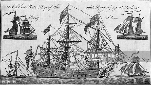 Sailing ship under full sail showing arrangement of rigging Also views of brig schooner ketch and sloop Undated engraving BPA2# 4424