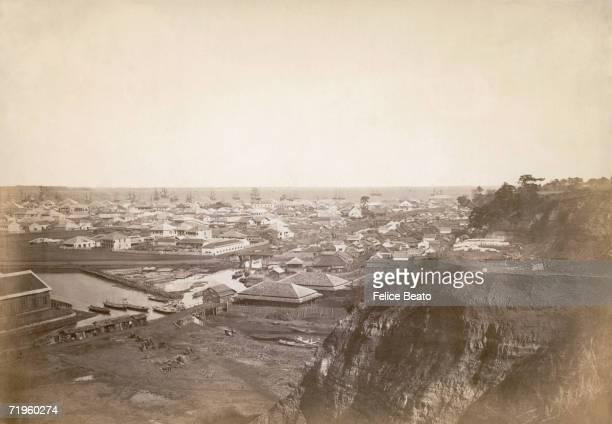 Sailing ships in the Japanese port of Yokohama circa 1865