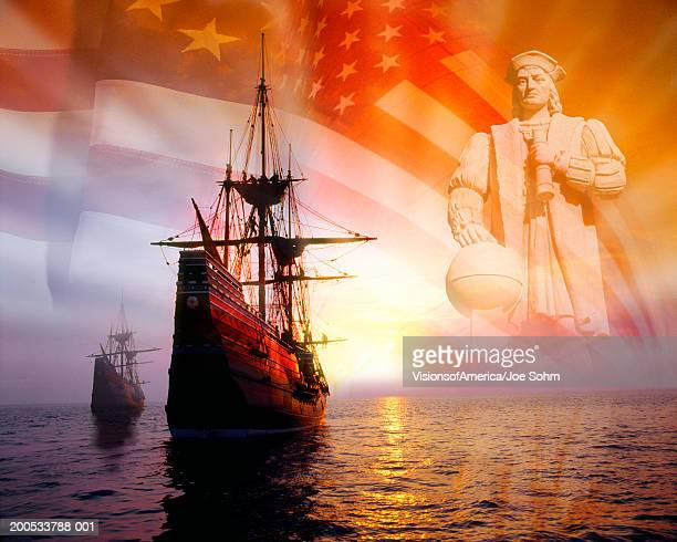 Sailing ships, statue of Christopher Columbus and American flag