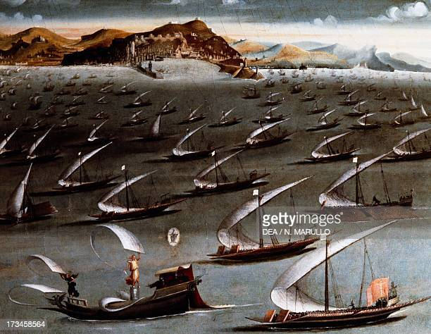 Sailing ships with a harbor in the background oil painting Italy 15th century Genoa Pegli Civico Museo Navale