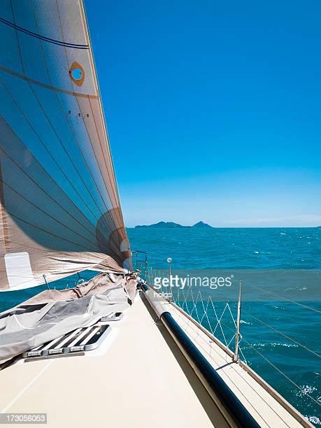 sailing the whitsunday islands - whitsunday island stock photos and pictures