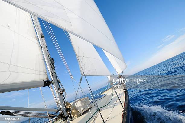 地平線に向かってセーリング - 帆 ストックフォトと画像