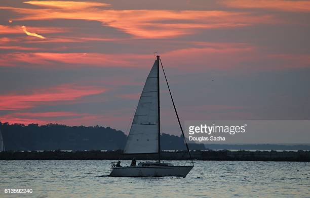 Sailing vessel on a colorful sky