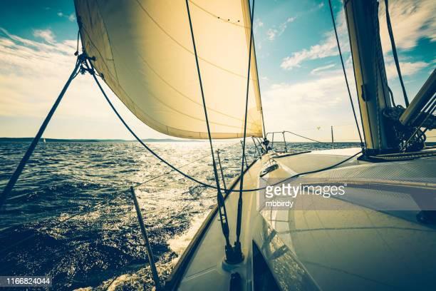 segeln mit segelboot bei sonnenuntergang - segeln stock-fotos und bilder