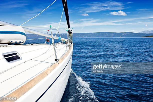 sailing with sailboat - passenger craft stock pictures, royalty-free photos & images