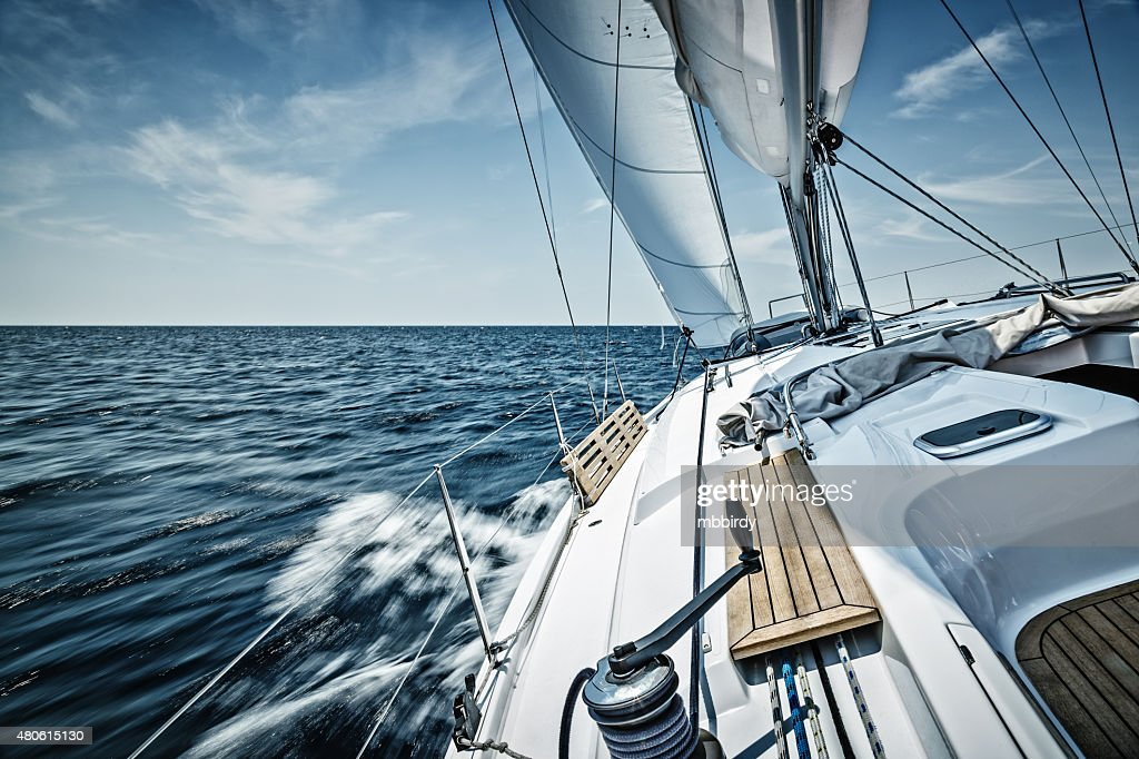 Sailing with sailboat : Stock Photo