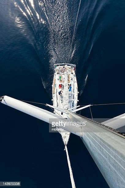 sailing with sailboat, view from above - sailing team stock pictures, royalty-free photos & images
