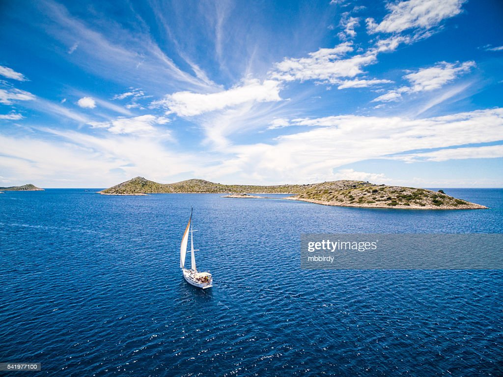 Sailing with sailboat, view from drone : Stock Photo