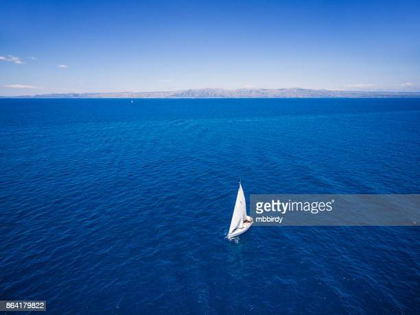 sailing with sailboat, view from drone - yachting stock pictures, royalty-free photos & images