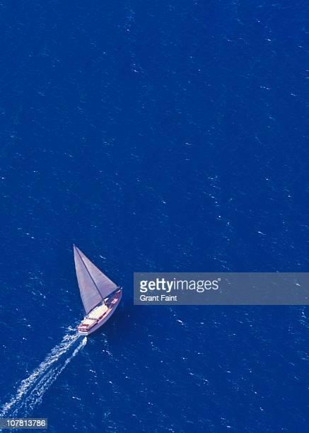 Sailing yacht at sea.