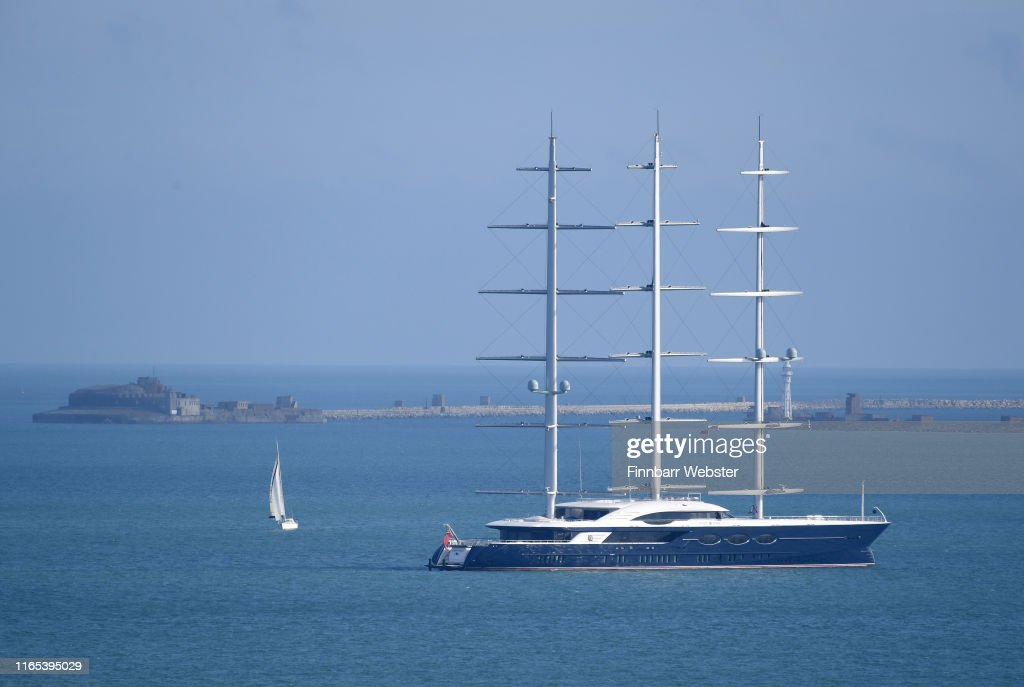 Sailing yacht Black Pearl is moored on July 31 at Weymouth