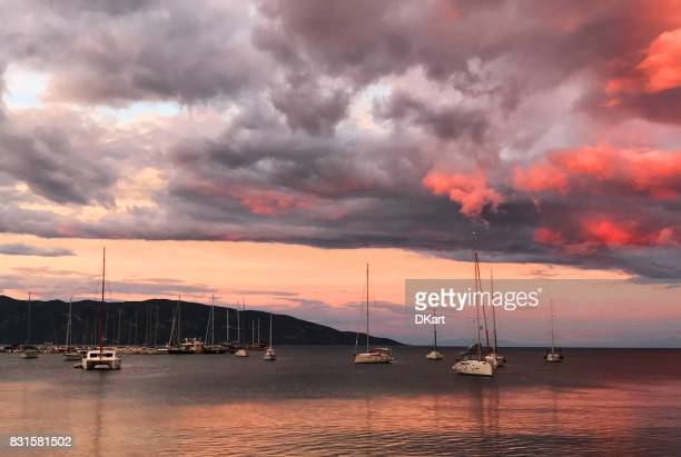 sailing yacht on the port in keramoti, greece - thasos stock photos and pictures