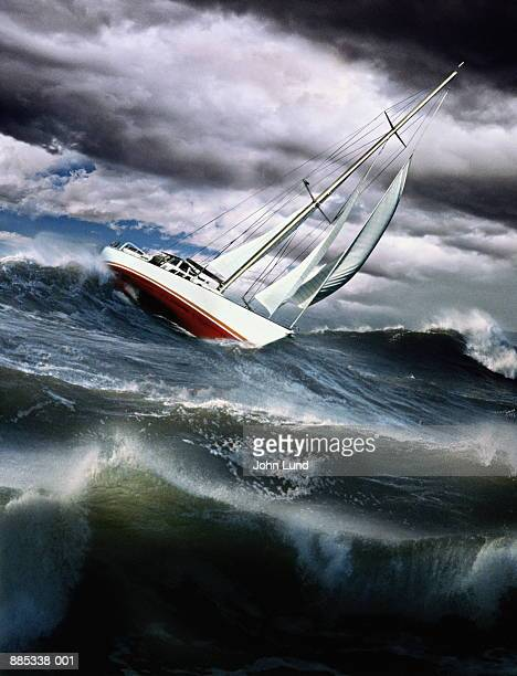 Sailing-boat on stormy sea (Digital Composite)