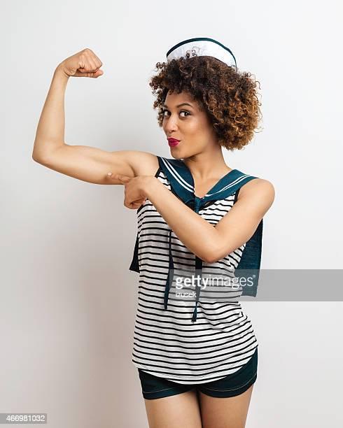 Sailor Afro Woman flexing her arm