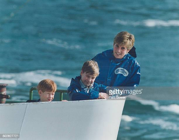 Sailor all Prince Harry 7 Prince William 9 and their mother Diana set out on a 20minute ride on the Mald of the Mist IV yesterday at Niagara Falls