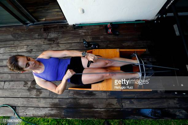 Sailor and Olympic athlete Elena Oetling performs various sailing routines in a boat simulator during a training session at home on June 1 2020 in...