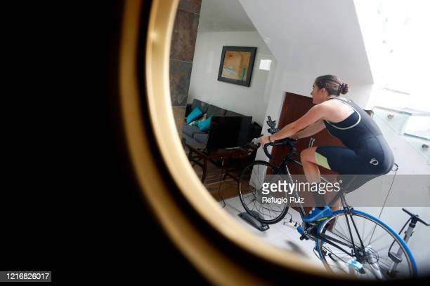 Sailor and Olympic athlete Elena Ortling rides a byclicle during a training session at home on June 1 2020 in Guadalajara Mexico Mexico remains on...