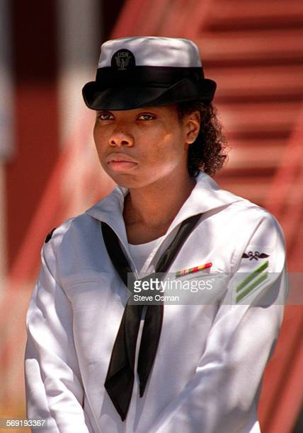 Sailor Debbie Clark who is facing charges of assault and being AWOL after filing charges of sexual harassment leaves the courtroom at Port Hueneme...