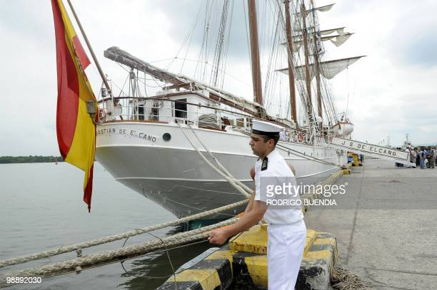 A sailor from Spain's sailboat Juan Sebastian de Elcano helps in the mooring at the port of Guayaquil Ecuador during the Bicentennial Race on May 6...