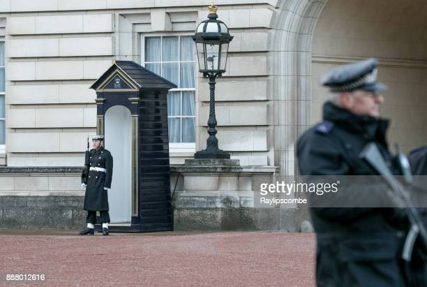 sailor from the royal navy keeping guard at buckingham palace. - guarding stock photos and pictures