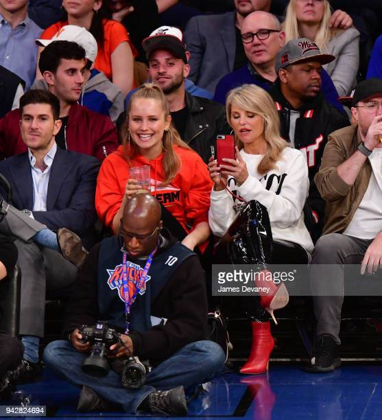 Sailor Lee BrinkleyCook and Christie Brinkley attend New York Knicks Vs Miami Heat game at Madison Square Garden on April 6 2018 in New York City