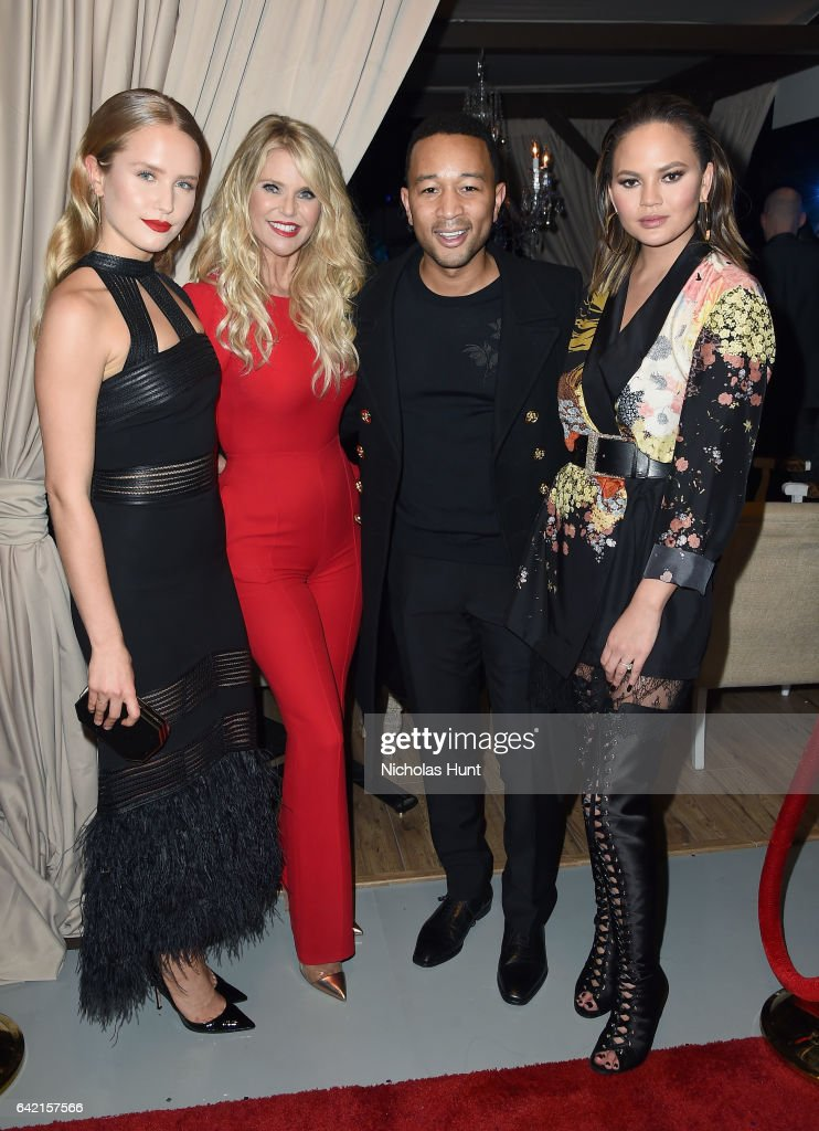 Sailor Lee Brinkley-Cook, Christie Brinkley, John Legend, and Chrissy Teigen attend Sports Illustrated Swimsuit 2017 NYC launch event at Center415 Event Space on February 16, 2017 in New York City.