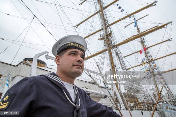 A sailor of the ARA Libertad ship school vessel of the Argentine Navy poses during the Velas Latinoamerica 2018 Nautical Festival at Callao Naval...