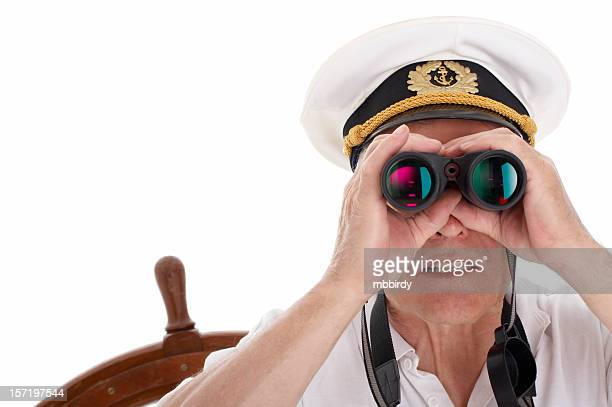 Sailor with binoculars, isolated on white background