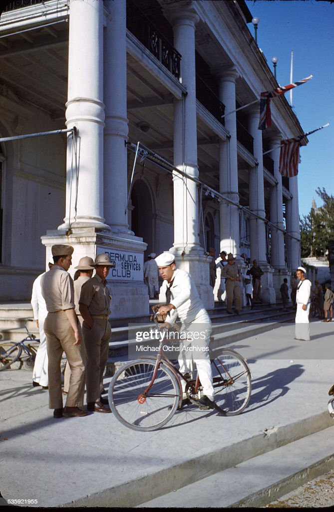 U.S. Sailors and Marines from the USS Iowa on shore leave at the Bermuda United Services Club in Bermuda.