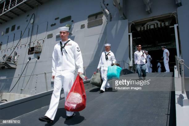 Sailors and Marines Reunite With Their Families, San Diego Naval Base, California.