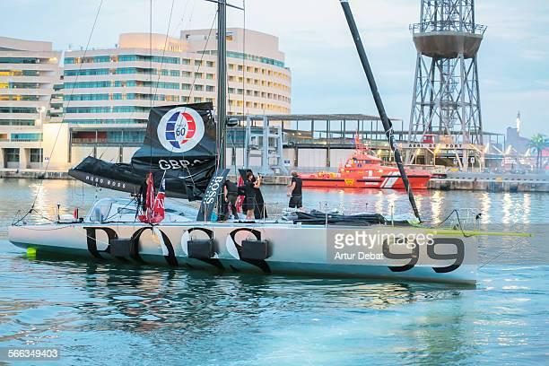 Sailors arriving at Barcelona harbor from New York crossing the Atlantic Ocean