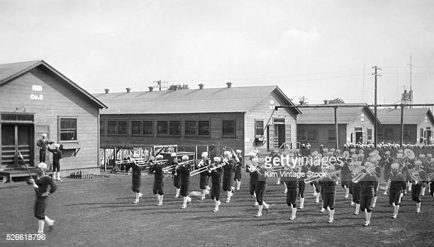 Sailors at Great Lakes US Naval Training Station in Illinois ca 1915