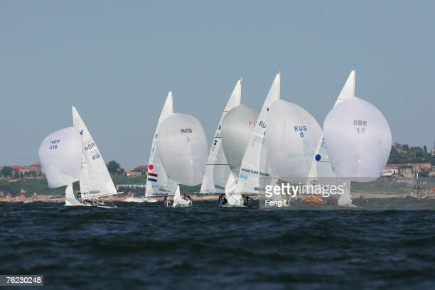 Sailors complete in the Yngling Class during the Qingdao International Regatta on August 23, 2007 in Qingdao, China.The race is one of 26 test events...
