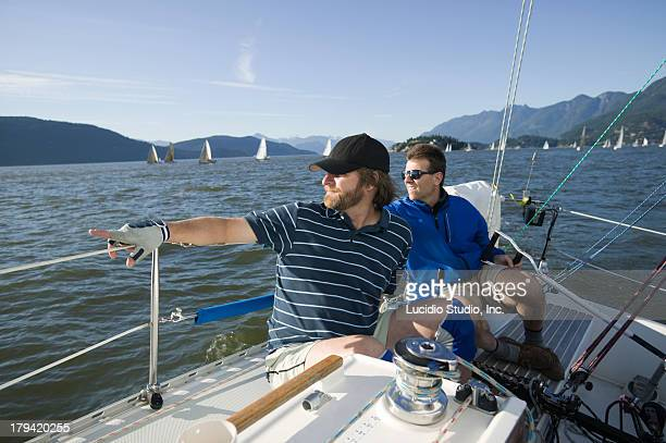 Sailors during a yacht race