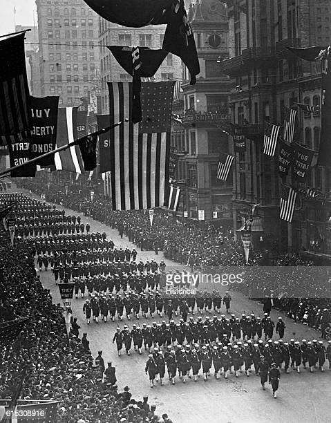 Sailors from Pelham Bay Naval Training Station march down Fifth Avenue in the Fourth Liberty Loan Parade New York City 1918