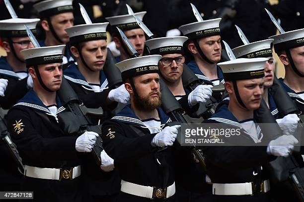 Sailors from the Roayl Navy march onto Horse Guards Parade in central London on May 10 2015 during an armed forces and veterans' parade to mark the...