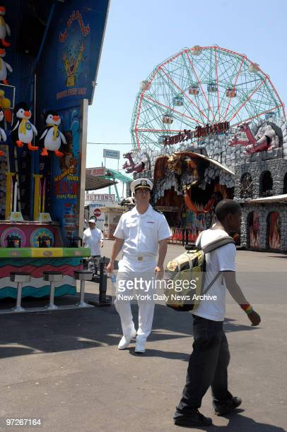 Sailors in Coney Island LTJG Kevin Ross walks around during his first time in NY