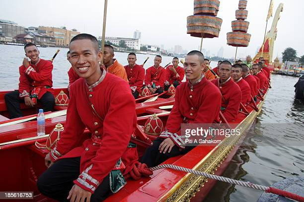 Sailors in full costume on a boat in the Thai Royal Barge Procession This year there will be a full procession on November 9 to mark the end of...