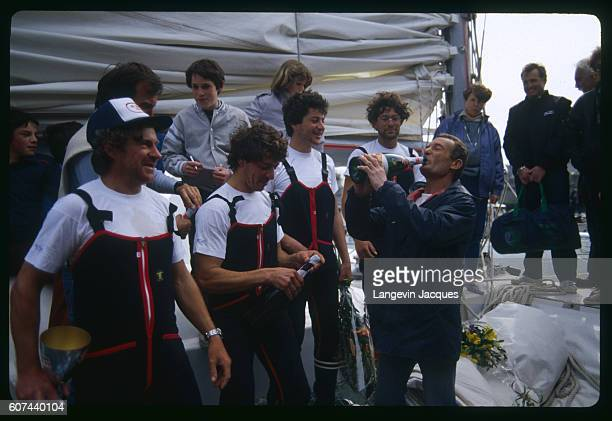 Sailors Jean le Cam Patrick Morvan Serge Madec and Marc Guillemot winners of the Atlantic Record with former champion Eric Tabarly