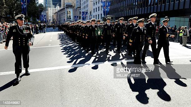 Sailors march down Sydney's George Street as tens of thousands of Australians and New Zealanders gathered on April 25 2012 to honour their war dead...
