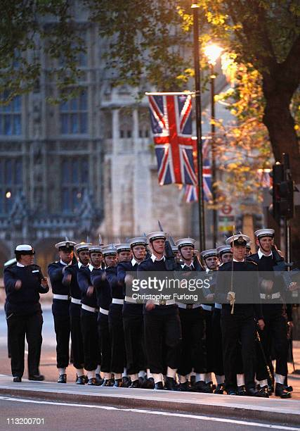 Sailors of the Royal Navy line the route outside Westminster Abbey during a military dress rehearsal for the wedding of Prince William and Catherine...
