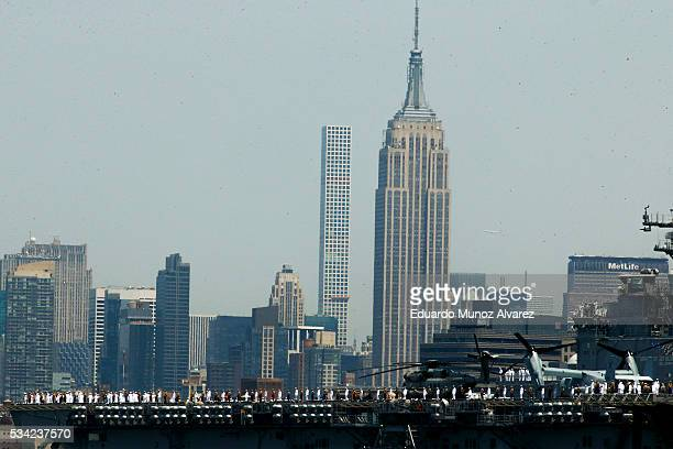 Sailors on board of USS Bataan arrive in New York Harbor for Fleet Week on May 25 2016 in New York City Nearly 4500 Sailors Marines and Coast...