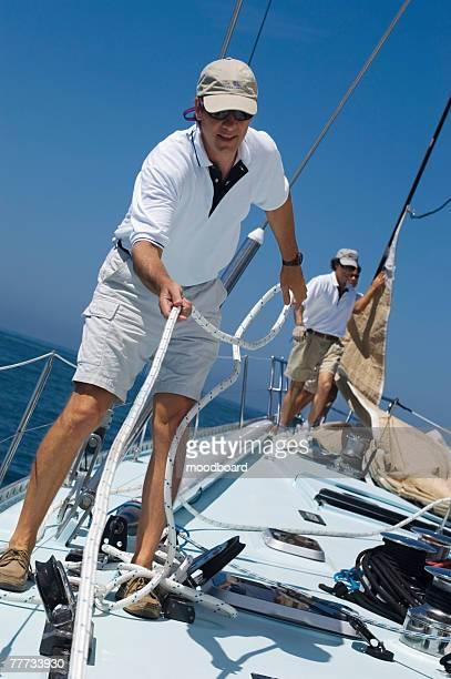 Sailors on Deck During Yacht Race
