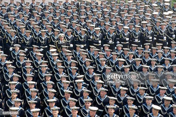 Sailors parade during the celebrations for the 50th anniversary of VE Day in the USSR
