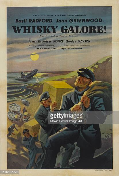 Sailors plunder cases of whiskey from a shipwreck on a poster for the movie 'Whisky Galore!', based on the novel by Compton MacKenzie, 1949.