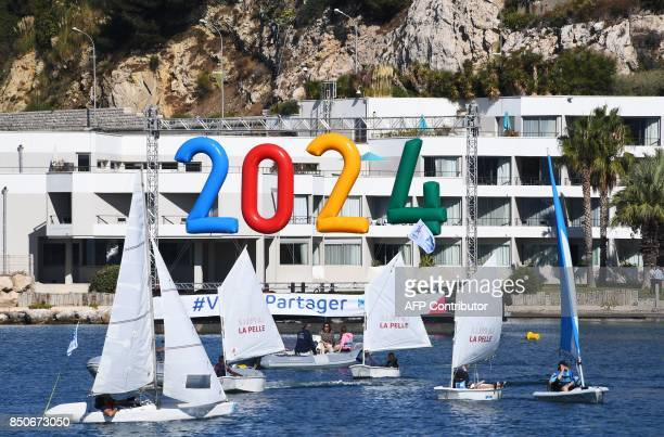 Sailors practise on the Roucas nautical base on September 21 2017 in the southern Mediterranean city of Marseille which will host the sailing events...