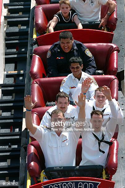 Sailors ride the Cyclone in Coney Island LTJG Kevin Ross and AT3 Brian Yancey CS2 Thomas Hicks and AOAN Joseph Bruner Navy men said it was their...